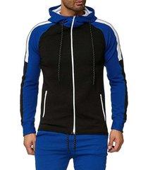 color block leisure front zip raglan sleeve hoodie