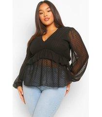 plus dobby mesh blouse met shirtmouwen en ruches, black