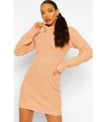 tall gebreide met capuchon sweatshirt jurk, rose