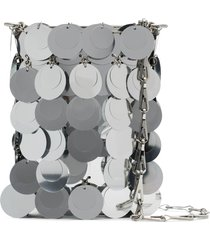 paco rabanne oversized sequins shoulder bag - silver