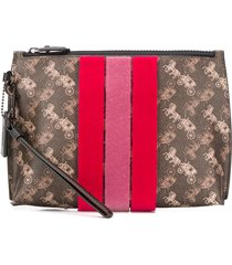 coach all-over print clutch - brown
