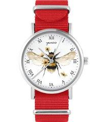 zegarek - bee natural - czerwony, nylonowy