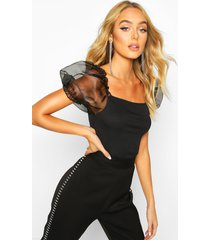 bardot organza sleeve rib top, black