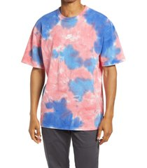 nike sportswear oversize tie dye t-shirt, size x-large in white/fusion red/signal blue at nordstrom