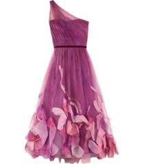 marchesa notte draped tulle one-shoulder gown
