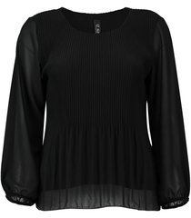 blouse plisse zwart