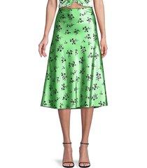 likely women's cruz floral satin a-line skirt - pistachio black - size 4
