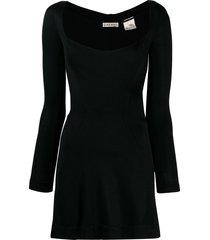 alaïa pre-owned fitted longsleeved mini dress - black