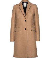 th ess wool blend classic coat wollen jas lange jas beige tommy hilfiger