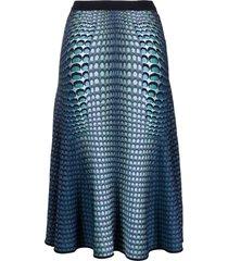 marine serre moon fish-print midi skirt - blue