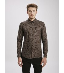 camisa marron airborn leopard