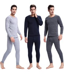 men's heavyweight thermal underwear set top & bottom fleece lined for winter