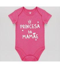 "body infantil ""princesa da mamãe"" manga curta rosa escuro"