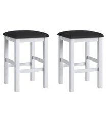 conjunto de banquetas móveis canção 2909 estofadas 2 peças branco/preto