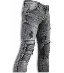new stone exclusieve biker jeans grijs