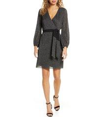 women's sam edelman sparkle long sleeve faux wrap dress