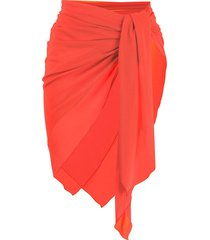 fisico sheer tie front sarong - orange