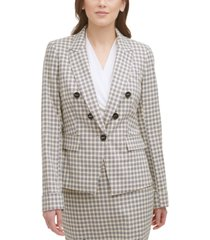 dkny printed double-breasted blazer