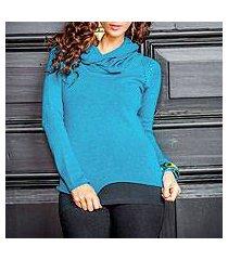 cotton and alpaca sweater, 'turquoise warmth' (peru)