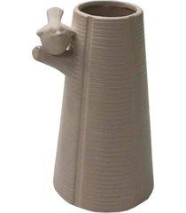 enfeite decorativo vaso com pássaro resina branco 15x10x10cm