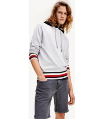 tommy hilfiger men's relaxed fit signature stripe hoodie sweater ice heather - xs