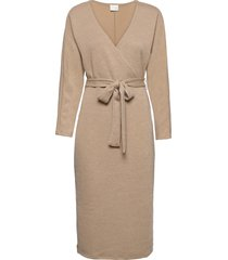 vimany l/s midi dress/rx dresses wrap dresses beige vila