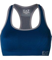 ea7 emporio armani top esportivo com logo - azul