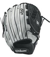 "wilson onyx victory web fastpitch glove, 12.5"", white/black, left hand"
