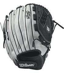 "wilson onyx victory web fastpitch glove, 12.5"", white/black, left hand"