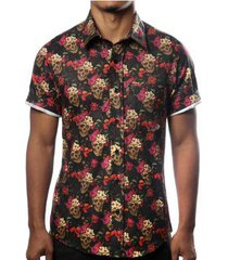 camisa camaleão urbano caveira mexicana floral masculina