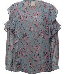vanessa short flower blouse lange mouwen blauw line of oslo