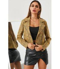 yoins cremallera de piel de serpiente amarilla diseño chaqueta de manga larga con cuello de solapa