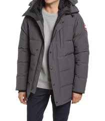 canada goose men's carson fusion fit hooded 625 fill power down parka, size large in graphite at nordstrom