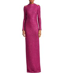 sequin tweed column gown