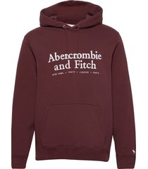 anf mens sweatshirts hoodie röd abercrombie & fitch