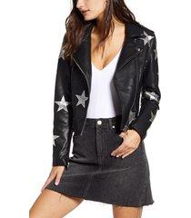 women's blanknyc star patch faux leather moto jacket
