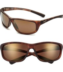 men's maui jim 'spartan reef - polarizedplus2' 64mm sunglasses - matte tortoise bronze