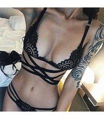 sexy lingerie bra & brief set erotic underwear bandage lace sexy nightwear black