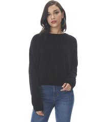 sweater chenille crop negro corona