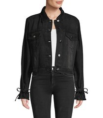 frayed-cuff denim jacket