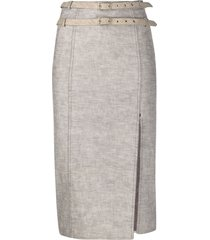 christian dior 2000s pre-owned double-belted pencil skirt - neutrals