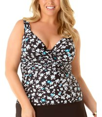 anne cole plus size beautiful bunches printed twist-front underwire tankini top women's swimsuit