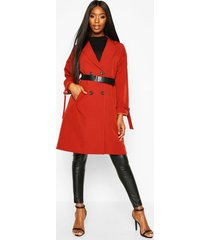faux leather belted trench coat, rust