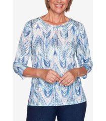 alfred dunner petite ladder-trim printed top