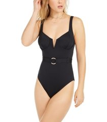 bar iii belted underwire one-piece swimsuit, created for macy's women's swimsuit