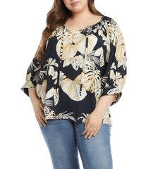 plus size women's karen kane blouson sleeve peasant top, size 2x - black