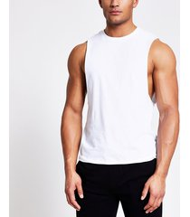 river island mens white muscle fit tank vest