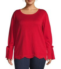 maree pour toi women's scalloped sweater - red - size 12