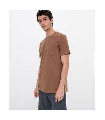 camiseta manga curta em algodão lisa   ripping   marrom   m