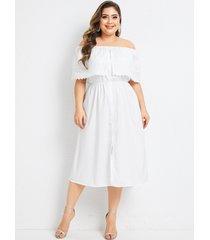 vestido extragrande bordado con hombros descubiertos blanco